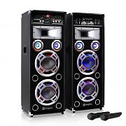 Skytec SPD-28V Active/Passive PA Speaker Pair + VHF Wireless Mic 1200W