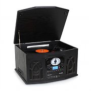 Auna NR-620 Retro Record Player Turntable CD MP3 USB SD Tape Radio Black