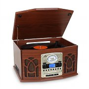 Auna NR-620 Retro Record Player Turntable CD MP3 USB SD Tape Radio Wood