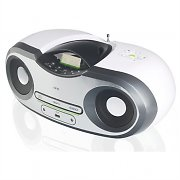 One by SEG AP124 Portable CD Boombox USB AUX FM AM MP3 Battery - White