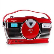 Soundmaster RCS1300 Retro Stereo System USB SD MP3 CD Alarm - Red