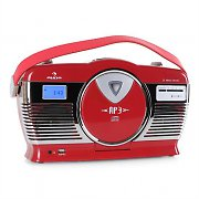 Auna RCD-70 Retro Vintage Portable Radio FM CD/MP3 USB Battery - Red