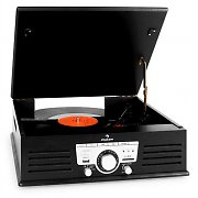 Auna TT-92B Record Player Turntable USB SD AUX FM Black