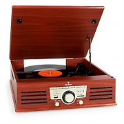 Auna TT-92B Turntable Record Player USB SD AUX Wooden Finish