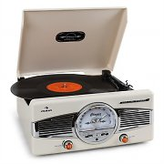 Auna MG-TT-82C Retro '50s Record Player Turntable FM Radio Cream