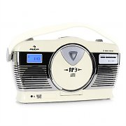 Auna RCD-70 Retro Vintage Portable Radio FM CD/MP3 USB Battery - Cream