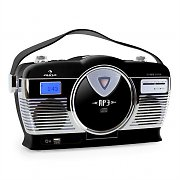 Auna RCD-70 Retro Vintage Portable Radio FM CD/MP3 USB Battery - Black