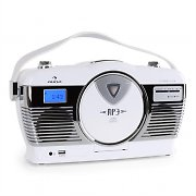 Auna RCD-70 Retro Vintage Portable Radio FM CD/MP3 USB Battery - White