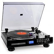Auna TT-1200 Hi-fi Stereo Record Player CD USB SD Radio AUX Black