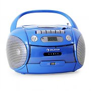 Auna Boomboy Portable Boombox CD Cassette Radio Recorder USB MP3 Blue