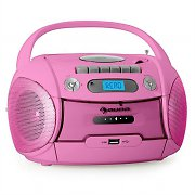 Auna Boomberry Portable Boombox CD Cassette Radio Recorder USB MP3 Pink