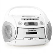 Auna Boomberry Portable Boombox CD Cassette Radio Recorder USB MP3 White