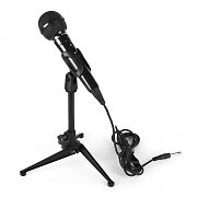 Dynamic Karaoke Microphone in Black with Table Stand