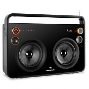 Auna Rocksteady Stereo Boombox USB SD Bluetooth AUX Mic Black