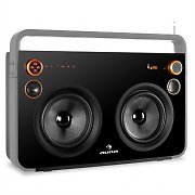 Auna Rocksteady Stereo Boombox USB SD Bluetooth AUX Mic Grey