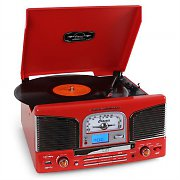 Inovalley Retro03 Vintage Stereo Record Player FM CD MP3 USB Red
