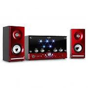Inovalley HP100 Hi-Fi Karaoke Stereo System FM USB SD AUX LED Red