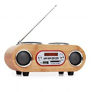 oneConcept Bamboost Mini Boombox Stereo FM USB SD AUX Bamboo