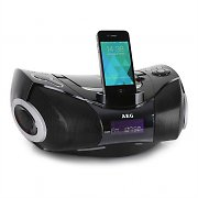 AEG SR 4337 iP Portable Hi-Fi Stereo CD Player iPhone Dock MP3 FM AUX Black