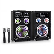 Skytec SPD-8V Active Karaoke Party Speaker Set USB SD VHF MIC