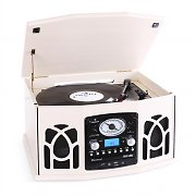 Auna NR-620 Retro Record Player Turntable CD MP3 USB SD Tape Radio Cream
