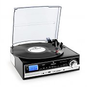 Auna TT-18SB Record Player USB SD AUX AM/FM Stereo Black Silver