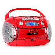 Auna BoomHeart Portable Stereo Boombox CD Radio USB MP3 Recorder Red