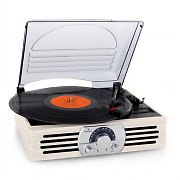 Auna TT-83N Vinyl Record Player AM/FM Cream