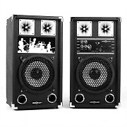 "OneConcept BSX-8A Karaoke Active 8"" PA Speakers USB microSD AUX MIC 400W"