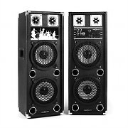 OneConcept BSX-28A PA Speakers USB microSD AUX MIC 80W RMS Black