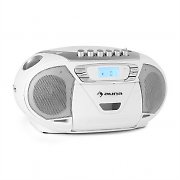 Auna KrissKross Portable Boombox Radio Recorder USB MP3 CD White