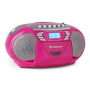 Auna KrissKross Portable Boombox Radio Recorder USB MP3 CD Pink
