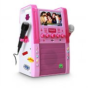 Auna KA8P Karaoke Machine DVD Player USB SD MP3 2 x Mic Sticker Set Pink