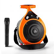 Auna Bassdrop Portable PA Speaker Bluetooth USB AUX MicroSD Battery VHF Orange