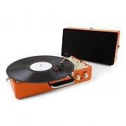 Auna Nostalgy Buckingham Retro Suitcase Turntable Record Player Orange
