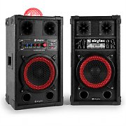 "Skytec SPB 10JB Powered 8"" Speaker Set with Light Effect Karaoke 2x 200W PMPO"