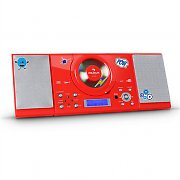 Auna MC-120 Stereo MP3 CD Player USB FM/AM AUX Sticker Set Red
