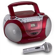 Soundmaster SCD5350RO Boombox FM CD Cassette Microphone Red