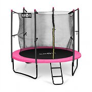 Klarfit Rocketgirl 250 Trampoline 8ft Safety Net Inside, Wide Ladder, Pink