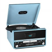 Auna RTT 1922 Retro Vinyl Stereo CD MP3 USB AUX FM Recording Blue