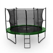Klarfit Rocketstart 366 Trampoline 12ft Safety Net Inside, Wide Ladder - Green
