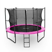 Klarfit Rocketgirl 366 Trampoline 12ft Safety Net Inside, Wide Ladder - Pink