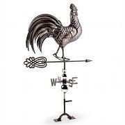 Blumfeldt Rooster Weather Vane with 2D Compass Rose Finished Steel