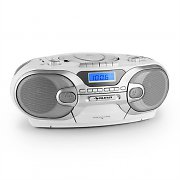 Auna RCD 230 Portable CD Stereo AM/FM Radio Cassette USB SD MP3 White
