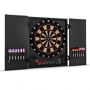 oneConcept Dartmaster 180 Electronic Dartboard with Soft Tip Darts and Doors Black