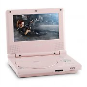 "Denver MT-770 Mobile DVD Player 18cm (7"") TFT LCD Display Battery MP3 12V Pink"