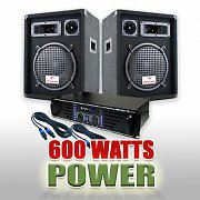 DJ PA Set 600 Watt System with Amplifier, Speakers &amp; Cables
