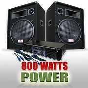 DJ PA Set 800 Watts System with Amplifier, Speakers &amp; Cables