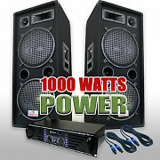 DJ PA Set 1000 Watt System with Amplifier, Speakers &amp; Cables