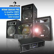 Miami Quasar Pro DJ PA System - 4 Speakers &amp; 2 Amplifiers 2000W